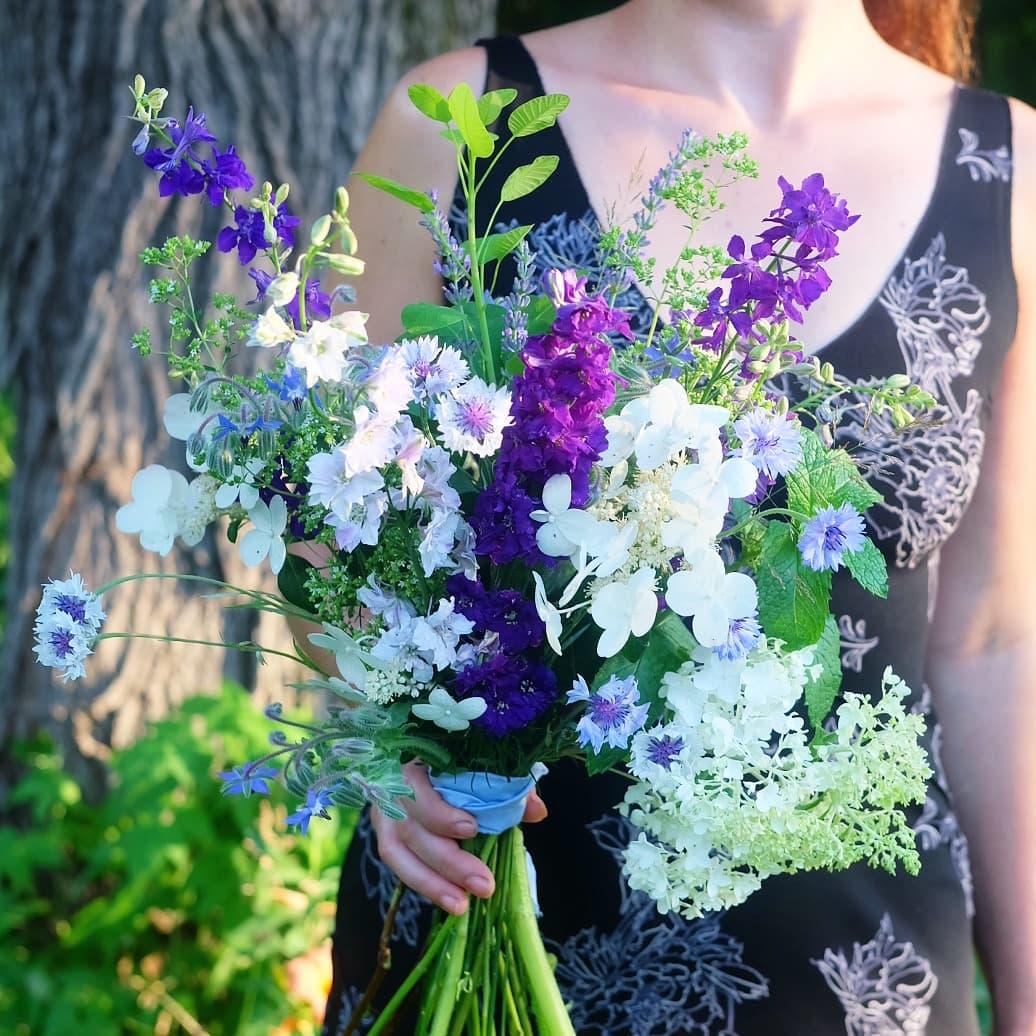 Bouquet mariage bleu écoresponsable