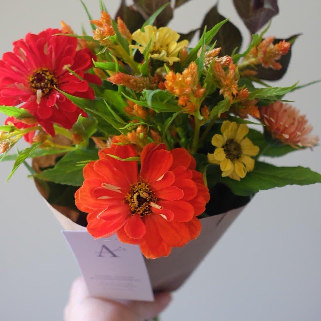 bouquet de fleurs locales zinnia